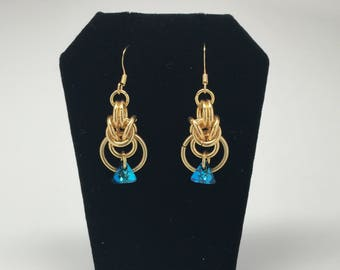 18k gold plated chainmaille earrings with genuine Swarovski crystals (Bermuda Blue)