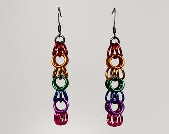 Chainmaille rainbow LGBT gay pride earrings (medium)