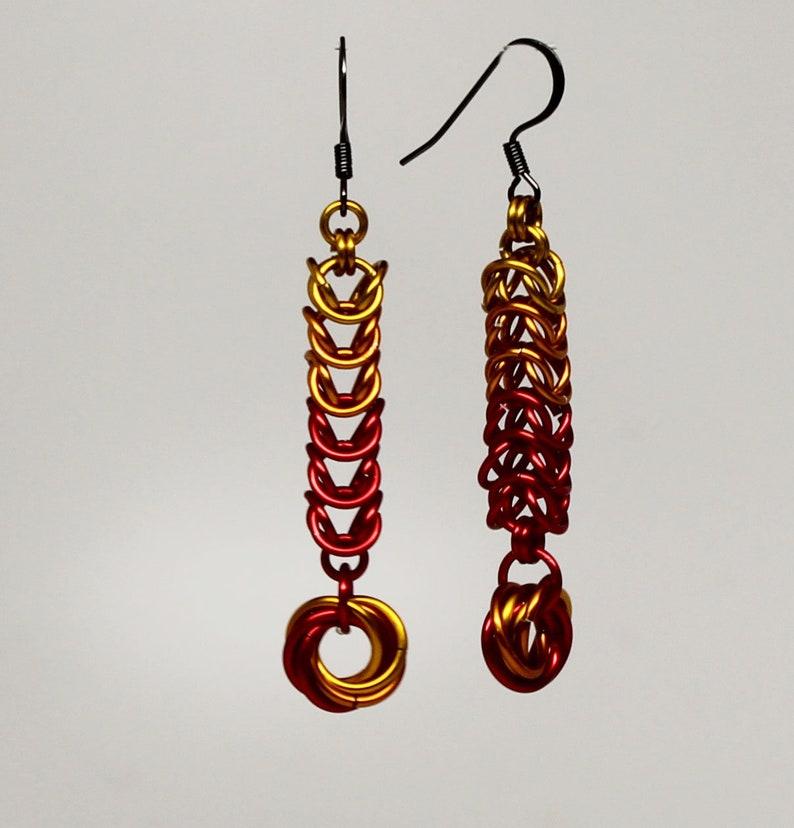 Chainmaille box weave Phoenix earrings