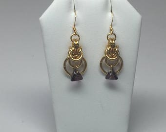18k gold plated chainmaille earrings with genuine Swarovski crystals (Lavender)