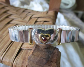 Vintage NAPIER SWEETHEART Expansion BRACELET Silver Tone w/Ruby Red Stone Accents Ladies Collectible 1955 Copyright Wedding Anniversary