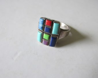 Sterling INLAY STONE RING Size 7 Native American Design Marked 925 Southwestern Style Collectible Rodeo Western Birthday Gals Graduation