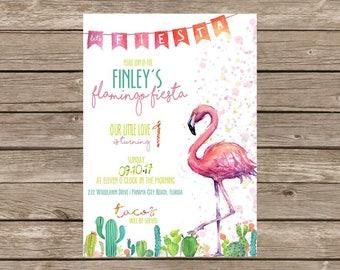 Flamingo Cactus Fiesta Birthday Invitation