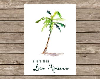 Watercolor Palm Tree Notecards - Set of 20
