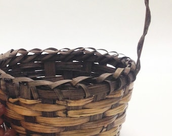 "deep wicker basket with handle, two toned planter flower basket farmhouse cottage; 8"" opening, 4.5"" deep, with handle 12"" tall, yesteryears"