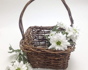 "vintage basket dark twig weave; flower garden basket, wicker planter patio porch decor, 8"" wide, 4"" deep, 11"" tall, yesteryears cottage chic"