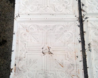 48x24 4x2 antique ceiling tile salvaged tin architectural victorian wall art chippy fronts back sides rusted without rusted holes - Antique Tin Ceiling Tiles