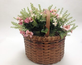"sturdy wicker basket large deep vintage basket garden planter bent wood handle storage tote 10.5"" wide, 6"" deep, 10"" tall yesteryears"