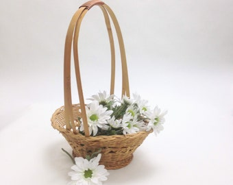 "wicker basket, flower girl basket natural bamboo basket wrapped handle wicker; wedding gift basket; 9.5"" x 7"", 3"" deep, 12"" tall yesteryears"