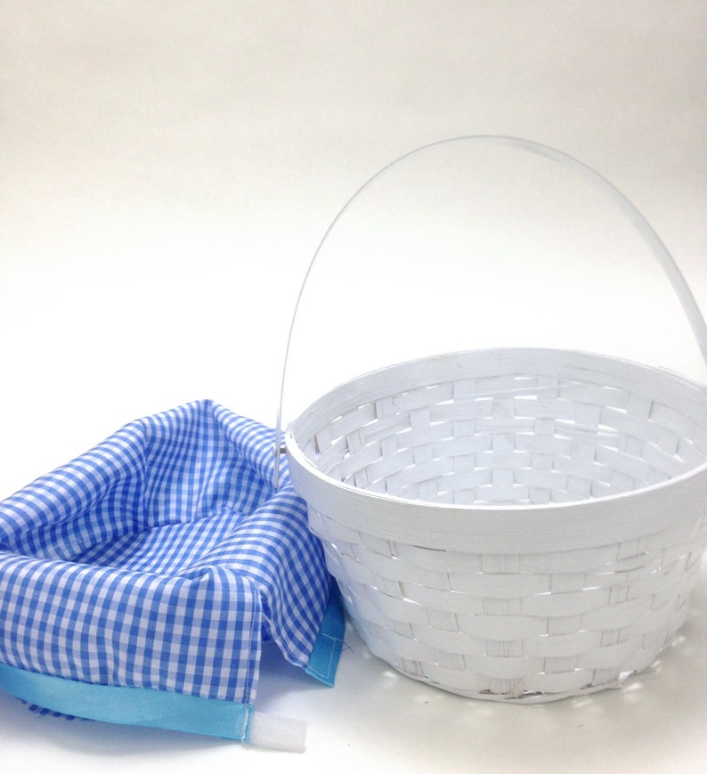 small oval willow basket for gift giving storage.htm glossy white basket blue gingham lined 8 5 wide etsy  glossy white basket blue gingham lined