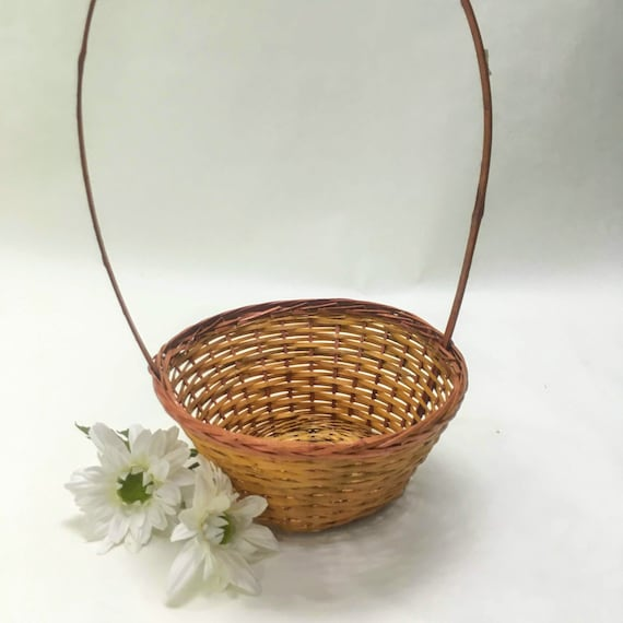 small oval willow basket for gift giving storage.htm vintage basket easter flower girl wicker rich brown orange etsy  easter flower girl wicker rich brown