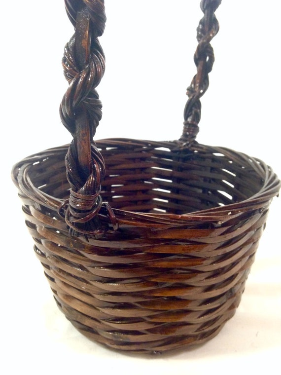small oval willow basket for gift giving storage.htm vintage basket with twisted vine handle easter basket rustic etsy  twisted vine handle easter basket