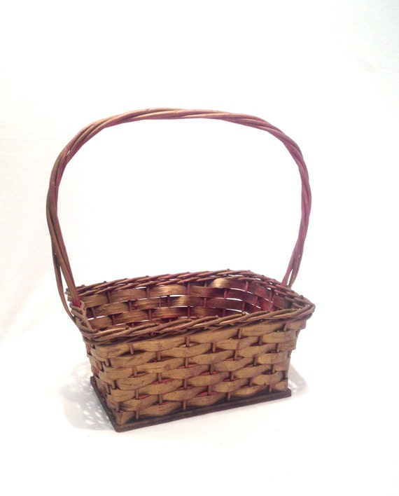 small oval willow basket for gift giving storage.htm gold and red wicker basket with handle and wooden base easter etsy  gold and red wicker basket with handle