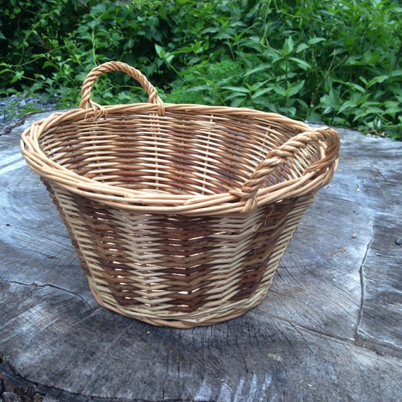 small oval willow basket for gift giving storage.htm deep round basket with handles etsy  deep round basket with handles etsy