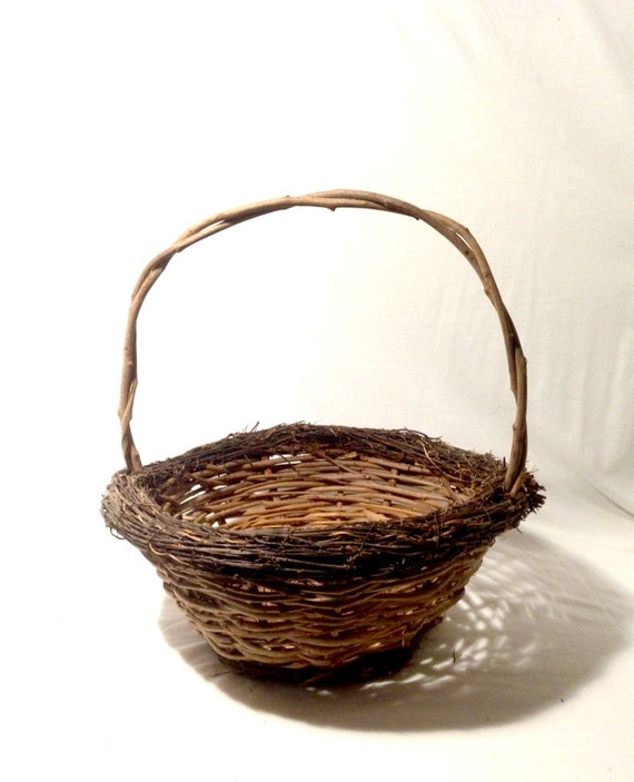 small oval willow basket for gift giving storage.htm large rustic twig basket with handle easter basket flower etsy  large rustic twig basket with handle