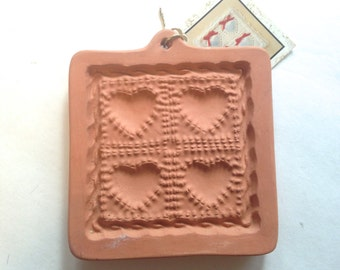 vintage new Cotton Press Quilted Hearts cookie mold; yesteryears valentines day, birthday; kitchen gadget craft supply country chic heart