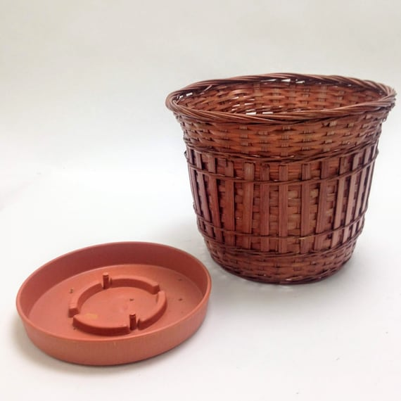 small oval willow basket for gift giving storage.htm vintage wicker planter with watering base trash waste bin etsy  watering base trash waste bin