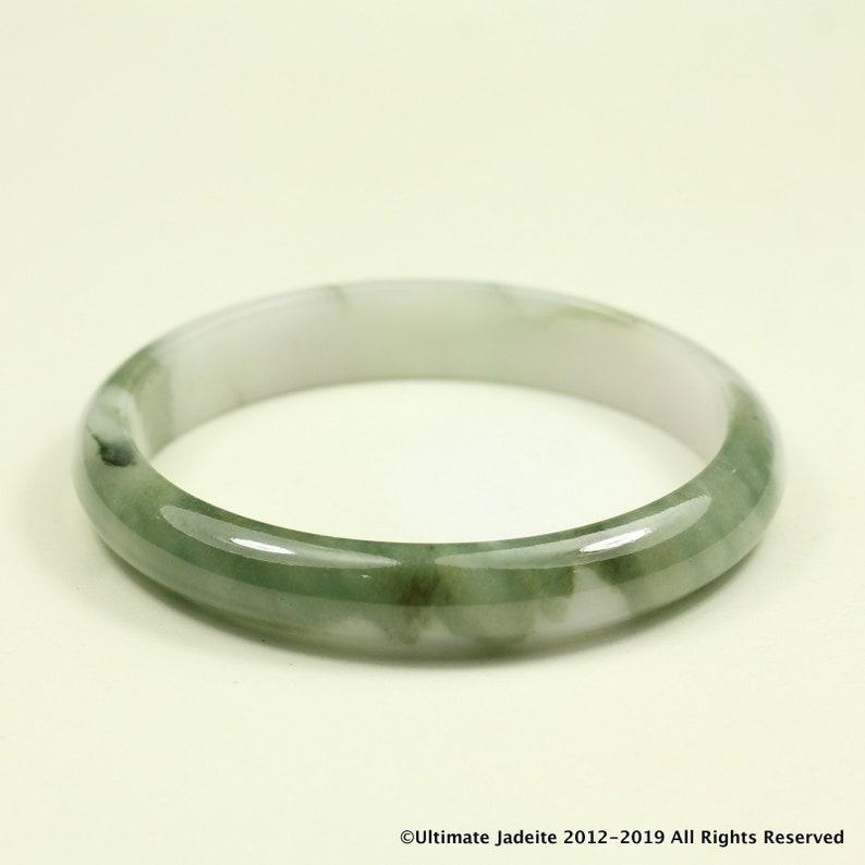 Oval 53.8mm Jade Bangle Dark Green White Grade A Jadeite MB30KL40
