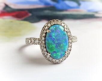 Estate 2.95ctw. Black Opal and Diamond Filigree Ring Platinum