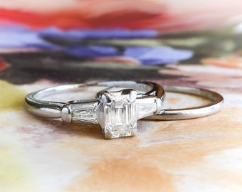 Vintage Engagement Wedding Set .59ct. t.w. Emerald Cut Diamond and Baguette Engagement Ring Wedding Band Set Platinum