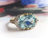 Antique Aquamarine Diamond Ring Edwardian 1920 39 s 3.37ct t.w. Radiant Emerald Cut Two Tone Birthstone Engagement Wedding Ring 18k Platinum