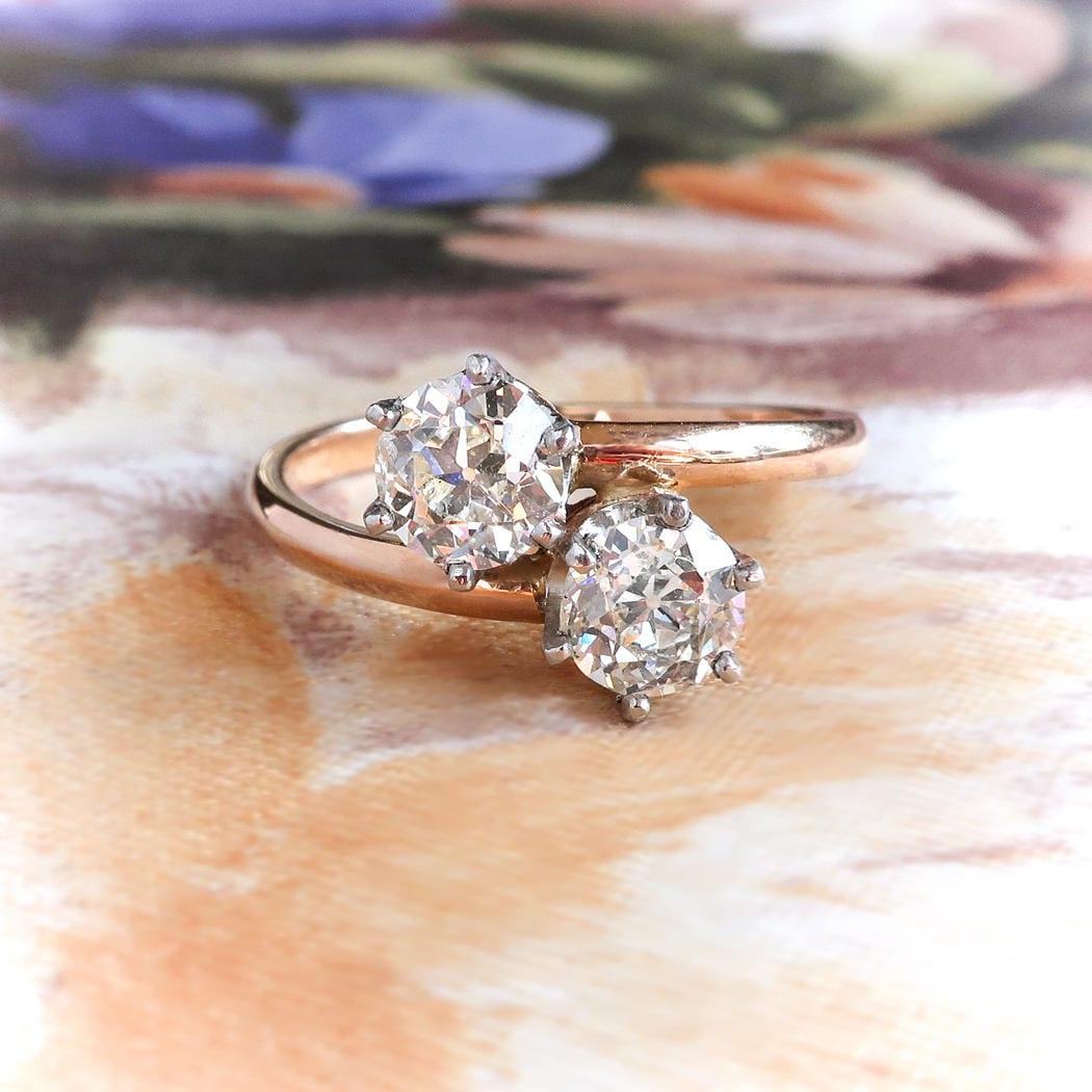 c26af3d0a411 Vintage Toi Et Moi Double Diamond Ring .96ct t.w. Old European