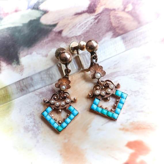 Antique Turquoise and Pearl Chandelier Earrings Ci