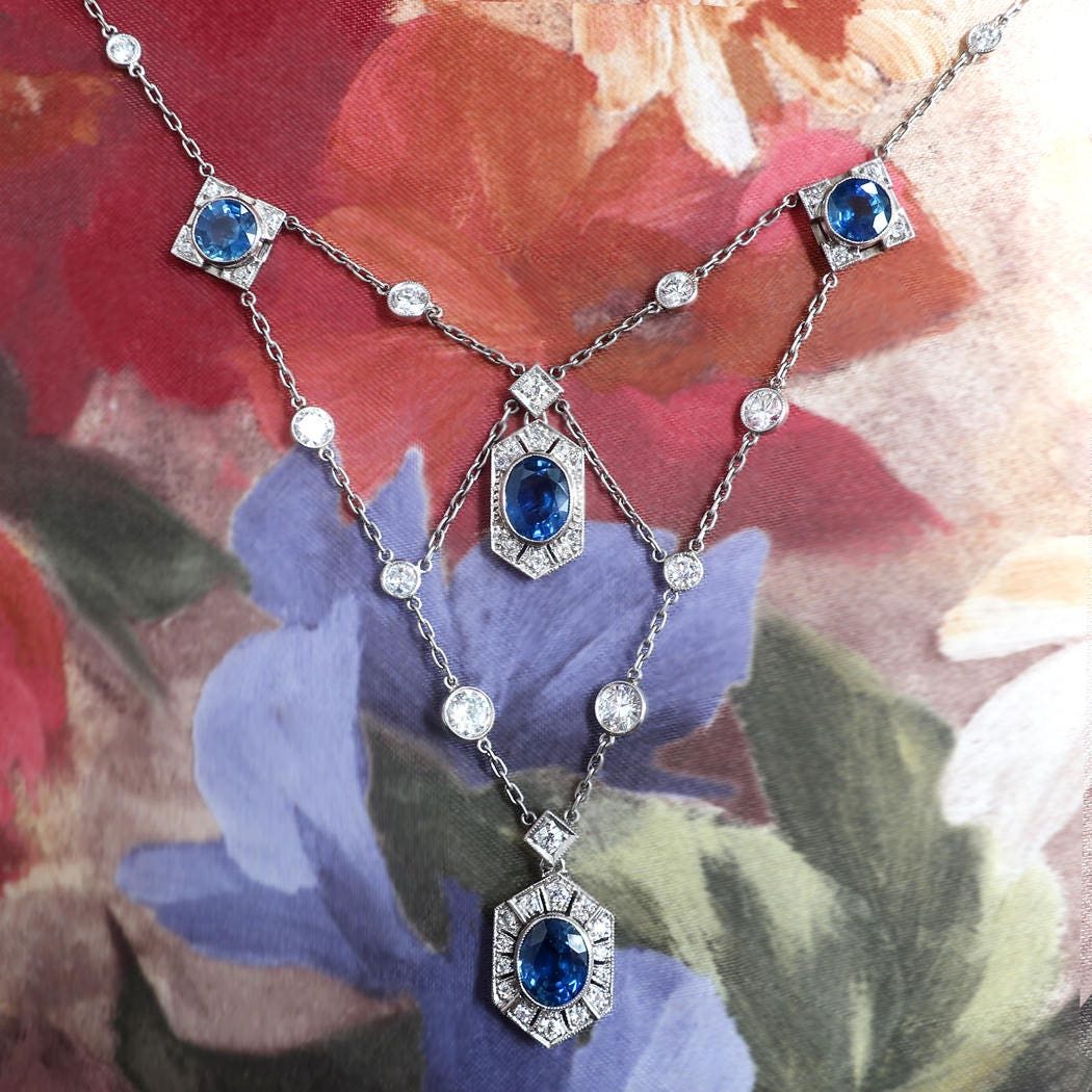 vintage sapphire diamond necklace circa 1940 39 s t w. Black Bedroom Furniture Sets. Home Design Ideas