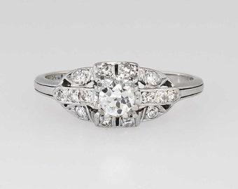 Striking Art Deco .48ctw Old European Cut Diamond Engagement Ring Platinum