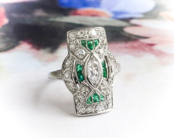 Art Deco Diamond Ring .94ct t.w. Marquise Diamond Era Appropriate Synthethic Emeralds Cocktail Navette Anniversary Ring Platinum