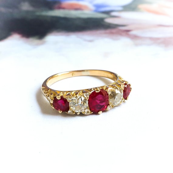 Antique Ruby And Diamond Ring Edwardian 1920's 1.8