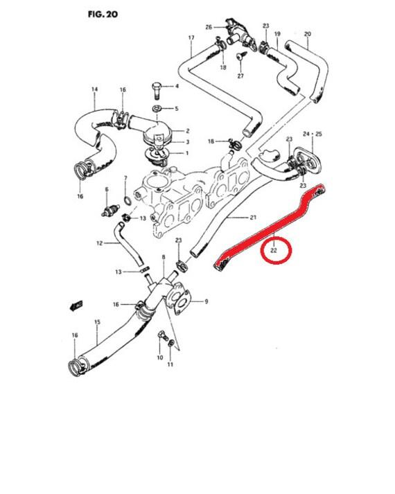 Suzuki Sj410 F10a Heater Outlet Hose Pn 17873 80010 Samurai