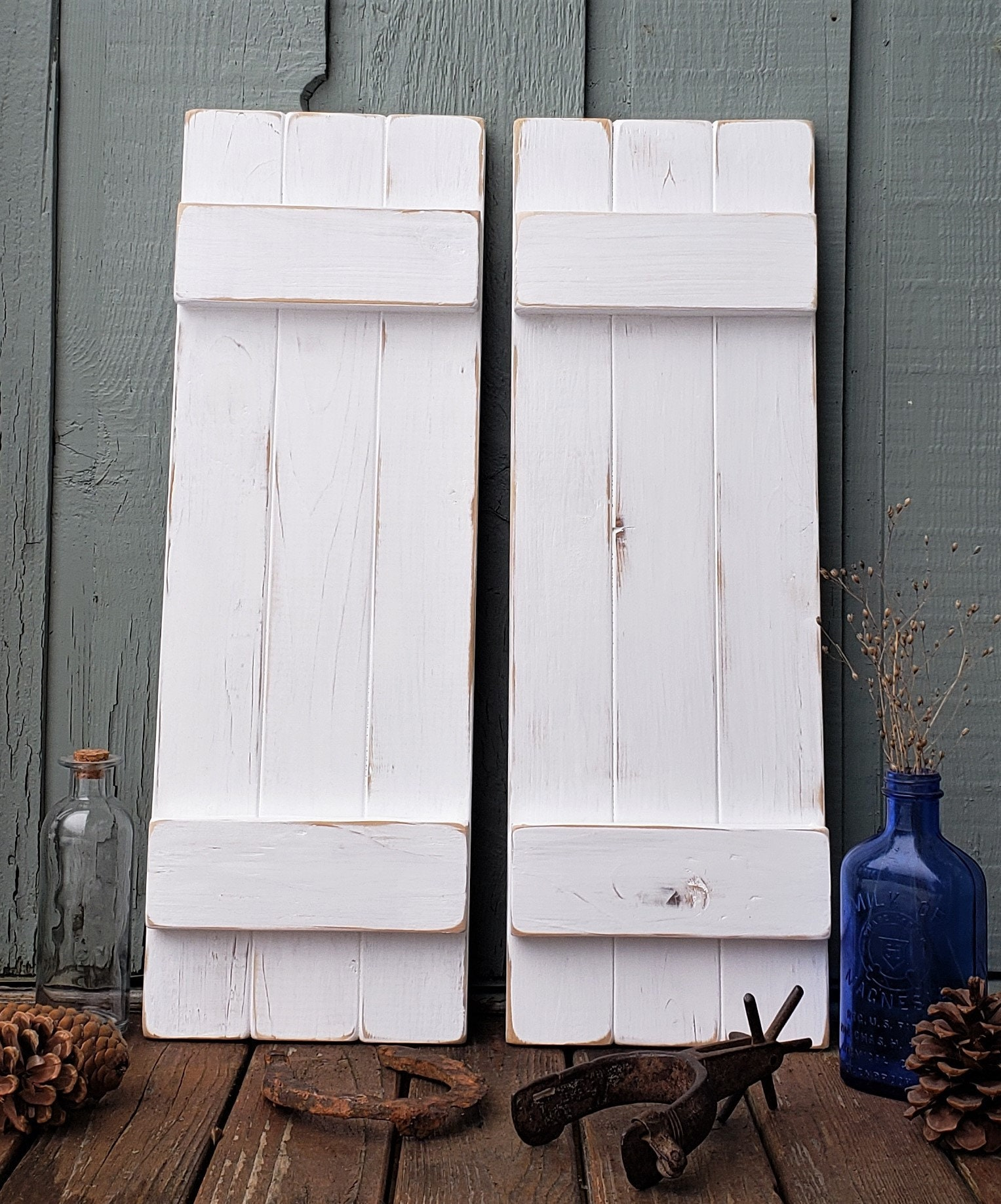 Distressed White Painted Wood Shutters Rustic Wood Shutters Interior Wall Decor Farmhouse Decor Reclaimed Wood Board And Batten