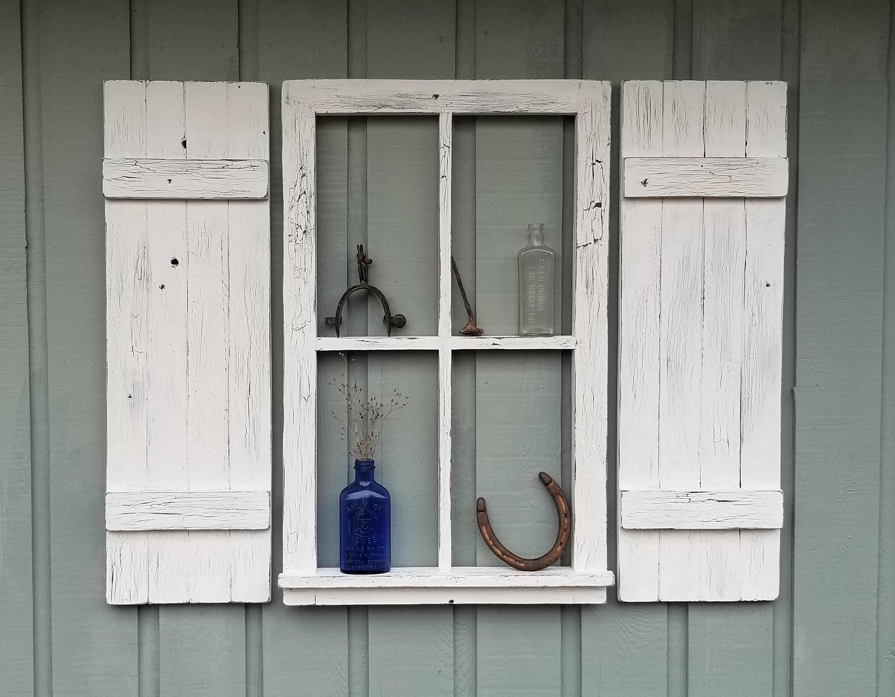 Rustic Wood Shutters With Window Vintage Shutters And Window Primitive Shutters Rustic Wall Decor Farmhouse Decor Shelf Shutter