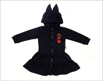 c3ae02f44b5 Queen of Heart jacket dress for a girl • Girl organic Hoodie jacket black  dress • Girl black sweater dress • Organic girl dress (GDJ5)