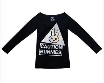 Women Long sleeve hologram printed bunny black t shirt • Bunny printed t shirt • Black organic women t shirt • Tee top • Size S /M / L (WT4)