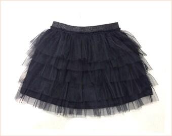 Black tulle skirt for girls • Girl Lace skirt • Girls mini skirt • Girl layers skirt • Girl cotton skirt • Size 4 5 6 7 8 10 12 14 16 (GS1)
