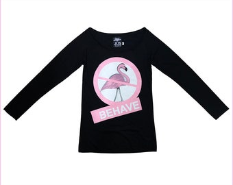Long sleeve women Flamingo printed t shirt •  Flamingo printed t shirt • Black organic women t shirt • Burning man style T shirt (WT3)