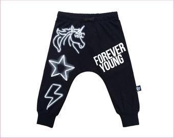 Unicorn organic black harem baggy drop crotch pants for boys and girls (KH7)