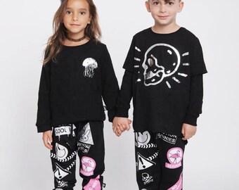 Boys pants , Boys harem pants , Toddler grey pants , Cool kids fashion , Rad boys pants , Drop crotch pants , Cat pants , Cat print