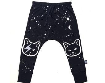 "Boys harem pants , ""KIDSPANTS"", Baby pants , Black kids pants Cat pants"