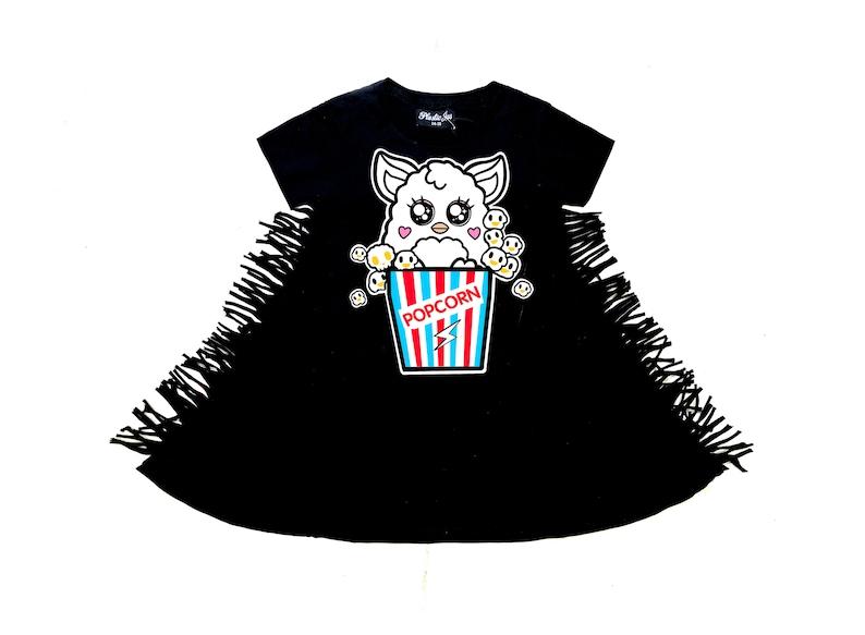 Kawaii black dress Girls black dress cute print Popcorn print