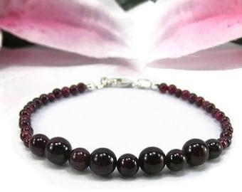 Natural Garnet Bracelet - January Birthstone Bracelet - Beaded Garnet Gemstone Bracelet - Beaded Red Birthstone Bracelet