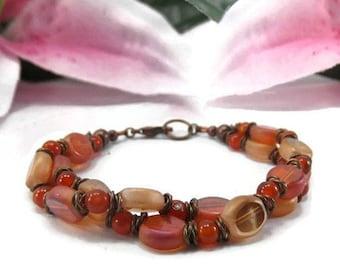 Orange and Copper Bracelet - Beaded Orange Carnelian Bracelet - Multistrand Beaded Bracelet - Chunky Orange Bracelet