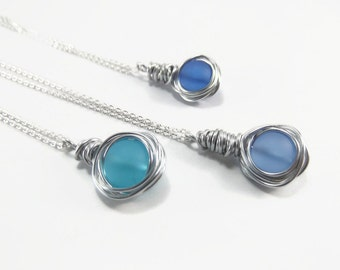 Meer Glas blaue Meer Glas Halskette-Strand Glas Schmuck   Etsy