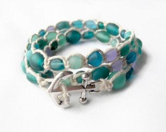 Seaglass Jewelry - Beach Bracelet - Hemp Bracelet - Ocean Bracelet - Sea Glass Jewelry - Sea Glass Bracelet - Anchor Wrap Bracelet