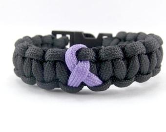 Relay for Life Paracord Bracelet - Purple Bracelet - Ribbon Bracelet - Awareness Bracelet - Purple Ribbon Cancer Bracelet - Hope Bracelet