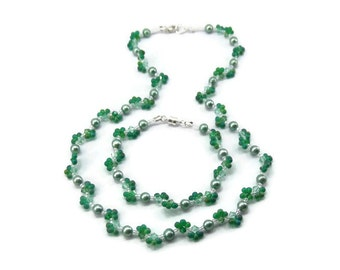 Green Beaded Necklace and Bracelet Set - Freshwater Pearl and Swarovski Crystal Set - Green Jewelry Set - Beaded Necklace - Beaded Bracelet