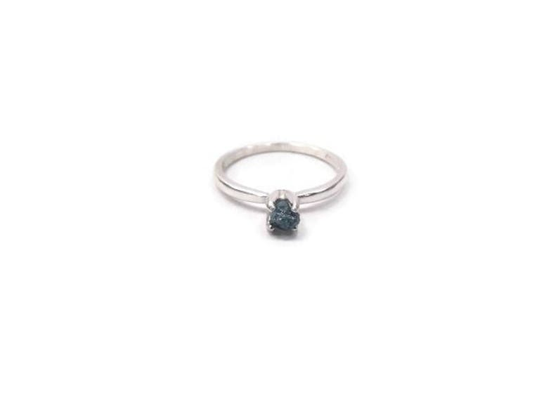 Raw Diamond Engagement Ring in Sterling Silver