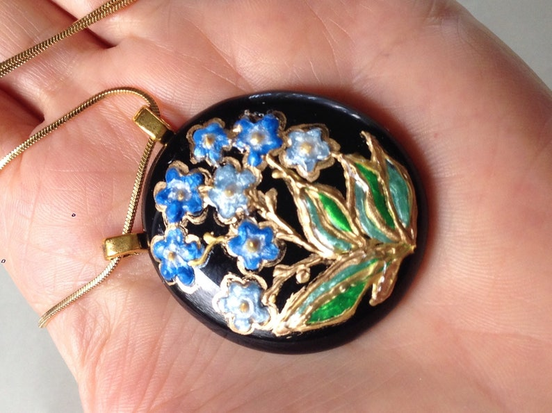 Forget Me Not Hand Painted Glass Pendant Necklace Jet Black Glass Pendant Blue  and Green Glass Enamel Miniature Wearable Art OOAK